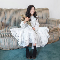 white lace long dress age for 4 14 yrs teenage girls 2019 autumn long sleeve graduation party vintage kids princess prom