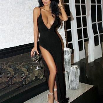 Sukienka z głębokim dekoltem Clubwear seksowna otwarta klatka piersiowa wysokie udo podzielone ramiączko Spaghetti do sukienki Sukienka głęboki dekolt gołe Sukienka z plecami Maxi Party tanie i dobre opinie CN (pochodzenie) Lato COTTON POLIESTER asymetryczne Dla osób w wieku 18-35 lat deep plunge dress nd012 V-neck bez rękawów