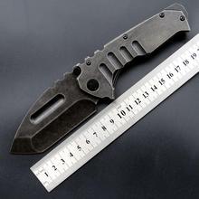 Couteaux à lame pliante MDF 3, manche en acier lavé, 440 lame de chasse, couteau de Camping, plein air, outils EDC