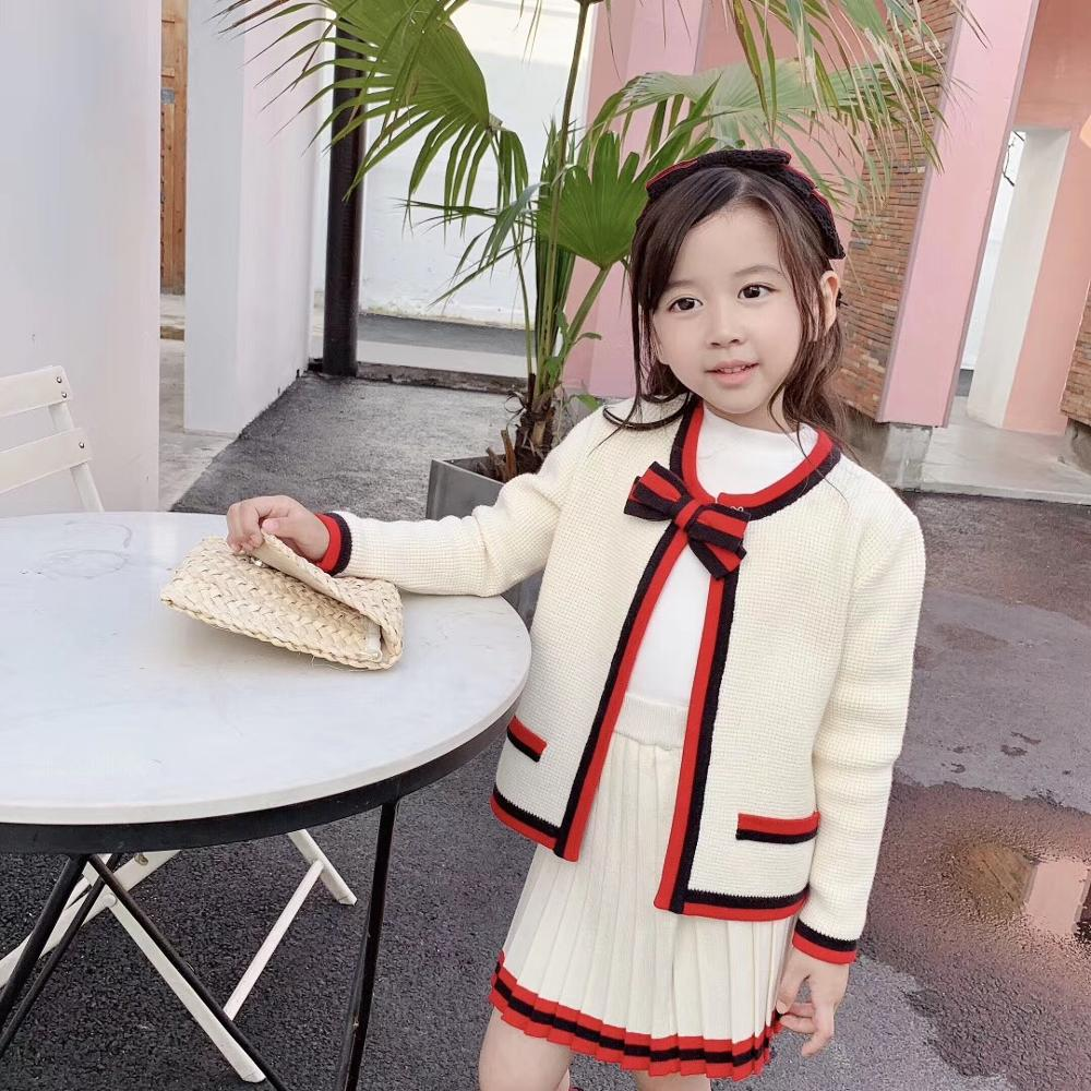 2019 New Arrival Toddler Girls Clothing Set Kintted Coat + Skirt 2 Pieces Princess Elegent Brand Girls Clothing 3 4 6 8 10 12Y
