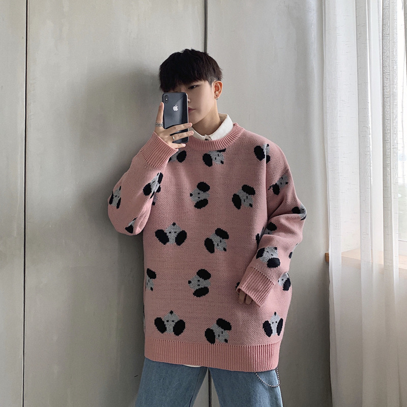 Men's Sweater 2019 Autumn And Winter New Loose Sweater Cartoon Print Sweater Youth Personality Fashion Trend Men's Clothing