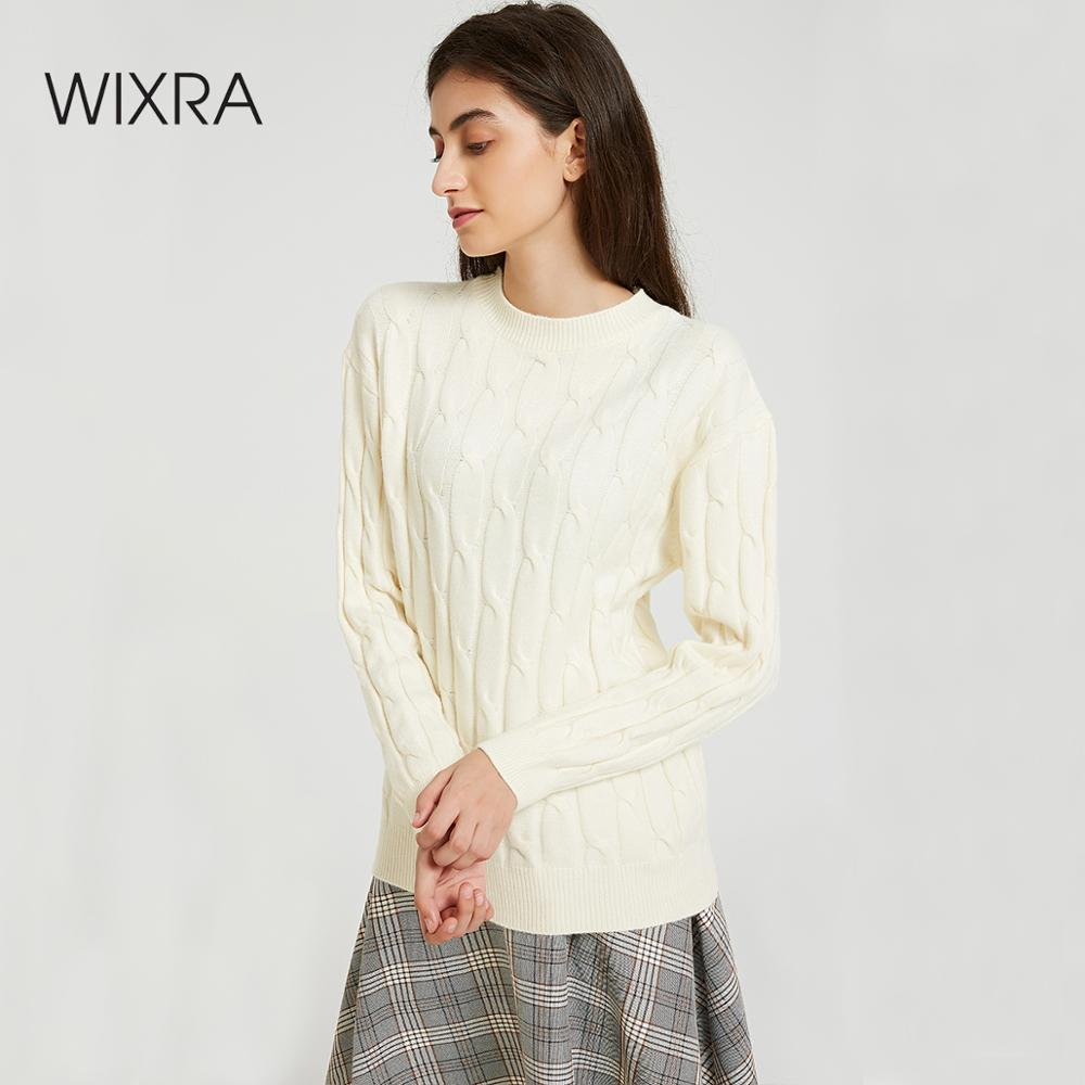 Wixra Women Sweater 2019 Autumn Winter Female O Neck Solid Warm Ladies Knitted Sweaters And Pullovers Women's Jumpers