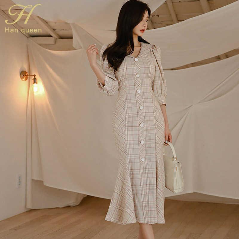 H Han queen винтажное клетчатое облегающее платье в клетку с русалочкой для женщин 2019 осенние однобортные платья элегантные OL Повседневные офисные платья