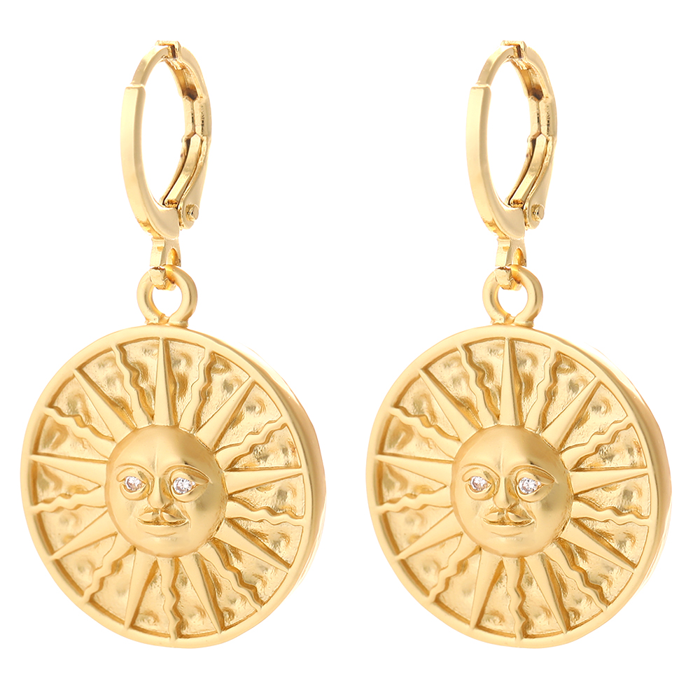 Sun Dangle Earrings for Women Gold Our Lady Earring with Pendant Charms Female Copper Pave Zircon CZ Statement Korean Fashion