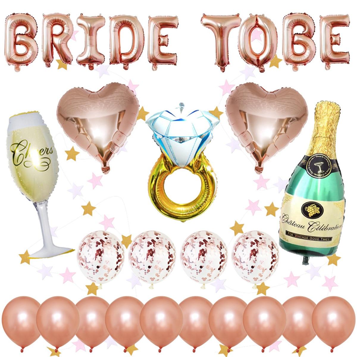 Bachelorette Party Wedding Decor Bridal Shower Supply Rose Gold Foil Balloons Kit Hen Party Decoration Bride Shoulder Strap