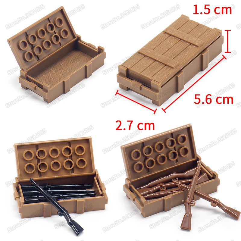 Legoinglys Soldier Figures Material Box Military World War 2 Weapons Box Army Special Forces Series Moc Child Christmas Gift Toy