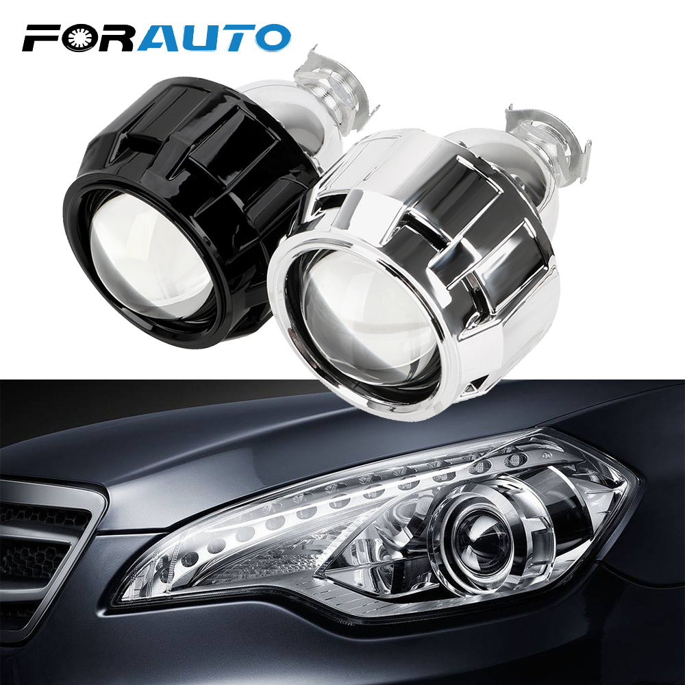 FORAUTO Xenon HID Projector <font><b>Lens</b></font> For H1 Xenon <font><b>LED</b></font> Bulb H4 <font><b>H7</b></font> Motorcycle Car <font><b>Headlight</b></font> Accessories 2.5 Inch Silver Black Shell image