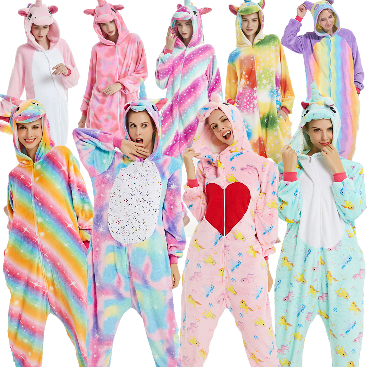 Kigurumi Suit For Adults Onesies Animal Pajamas Women Sleepwear Pyjama Suits Unicorn Panda Wolf Onesies Unisex Cartoon Pijama