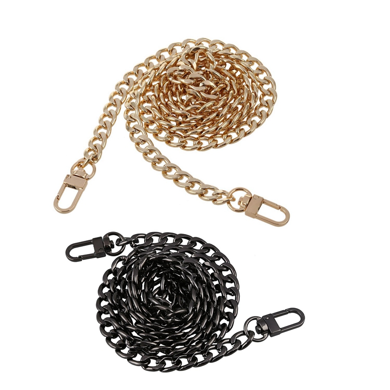 ABZC-2 Pcs Round Replacement Chain Flat For Handbag Purse Or Shoulder Strapping Bag 9Mm, Gold & Black