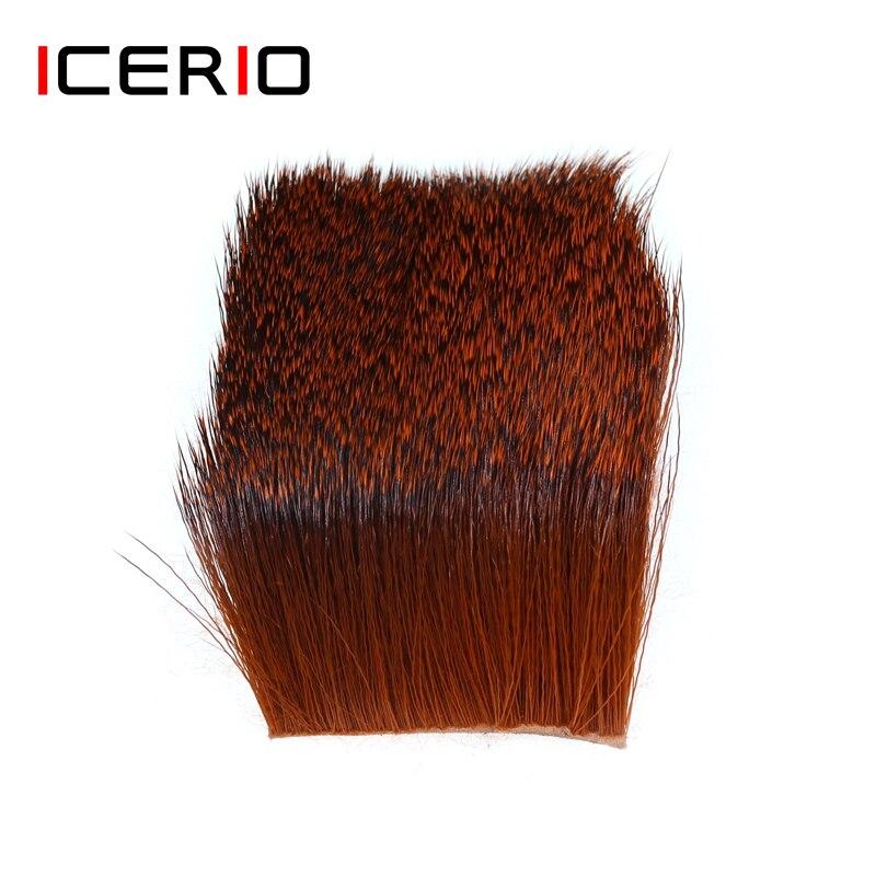 ICERIO 1 Stück Natürliche Deer Haar Patch Trockenen Fliegen Trichter Caddis Flügel und Körper Spinning Bass Bugs Fliegen Binden Materialien