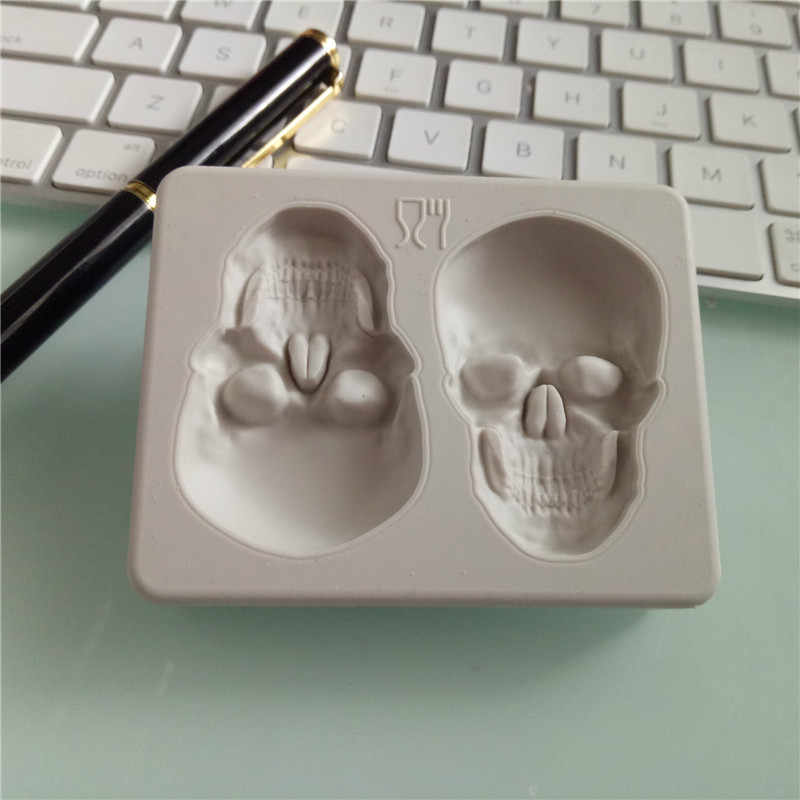 ליל כל הקדושים 3D שלד ראש גולגולת סיליקון DIY שוקולד סוכריות תבניות מסיבת עוגת קישוט עובש מאפה אפיית קישוט כלים