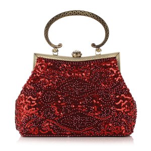 Image 2 - Red Glitter Evening Bags Women Hobos Luxury Party Small Handbags Female Soft Surface Clutches Wedding Banquet Purse Pouch