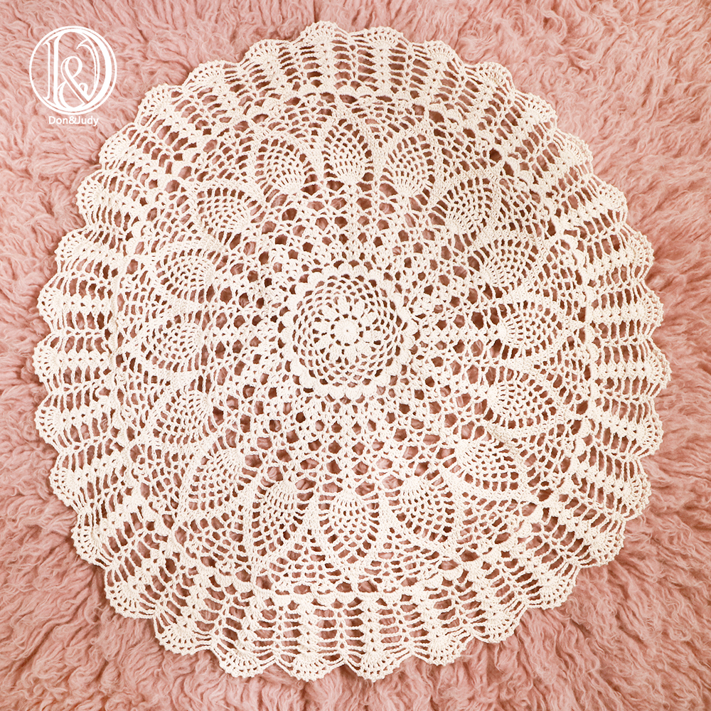 Don&Judy Handmade Crocheted Round Cotton Blanket Photo Basket Stuffer Filler Newborn Infant Photography Shooting Background New