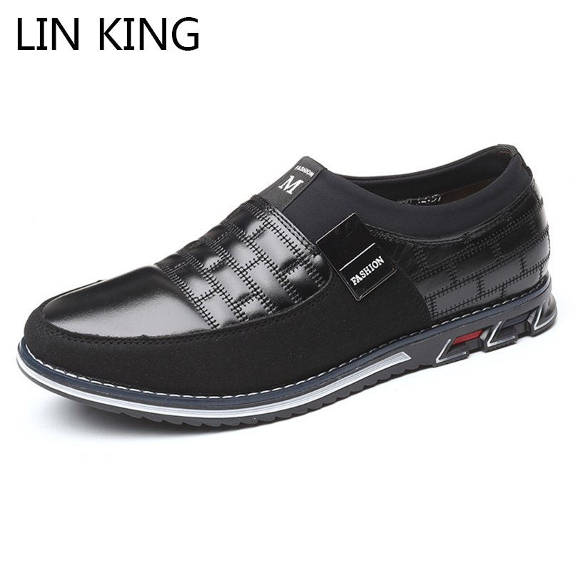 LIN KING Big Size Fashion Leather Men Casual Shoes Soft Sole Mens Loafers Moccasins Breathable Anti Skid Black Man Driving Shoes