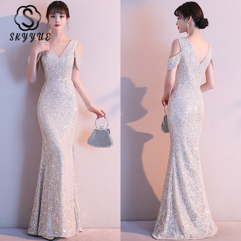 Skyyue Cap Sleeve Evening Dresses Champagne Sequins Floor-Length Formal Dress K118 Elegant  Mermaid Evening Gowns Robe De Soiree