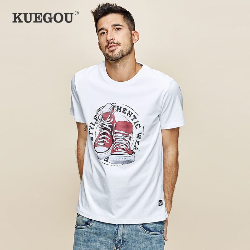 KUEGOU 2020 Summer 100% Cotton Print White T Shirt Men Tshirt Brand T-shirt Short Sleeve Tee Shirt Fashion Plus Size Tops 3307