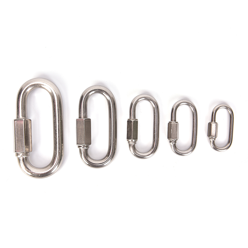 1pcs Stainless Steel Screw Lock Mountaineering Equipment Carabiner Quick Link Safety Clasp