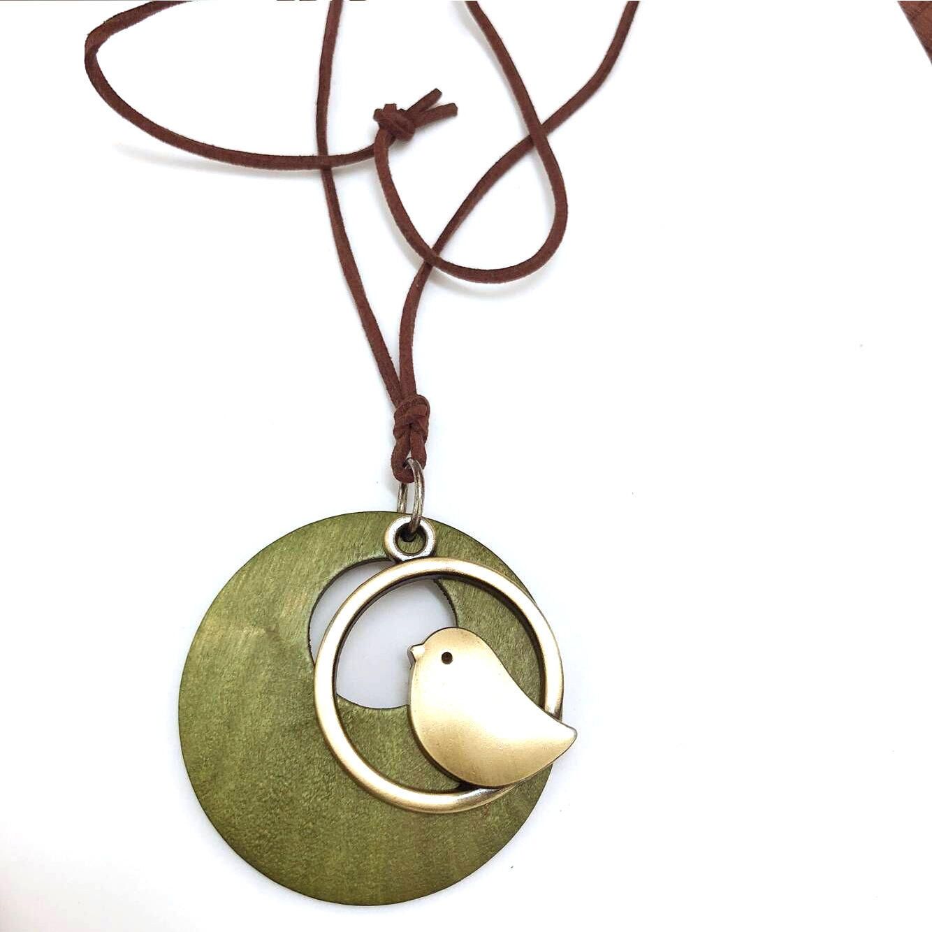 Fashion Women Handmade Bird Pendant Long Necklace Leather Chain Choker Jewelry