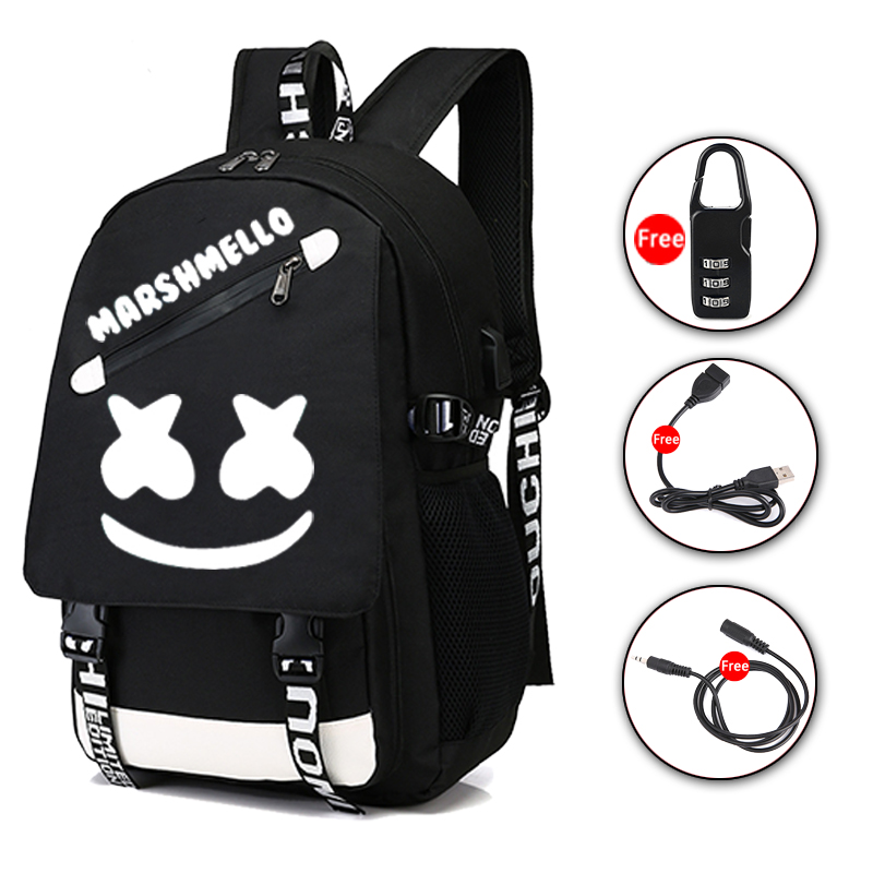 DJ Marshmallow Student Luminous Backpack For Teenager Boys Girls School Bags With USB Charging Anti Theft Laptop Backpack