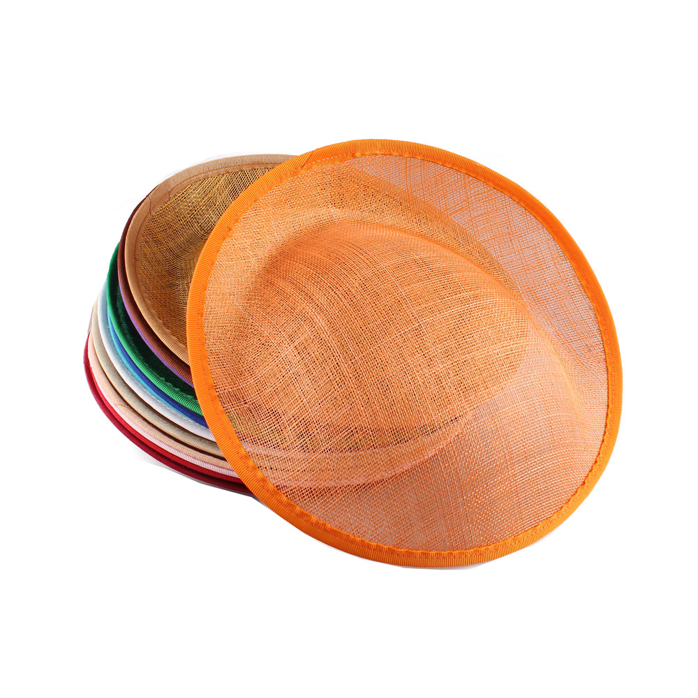 25CM Orange Fascinator Base Wedding Royal Ascot Party Sinamay Fascinator Hats Base DIY Hair Accessories Craft Headwear 12PCS/Lot