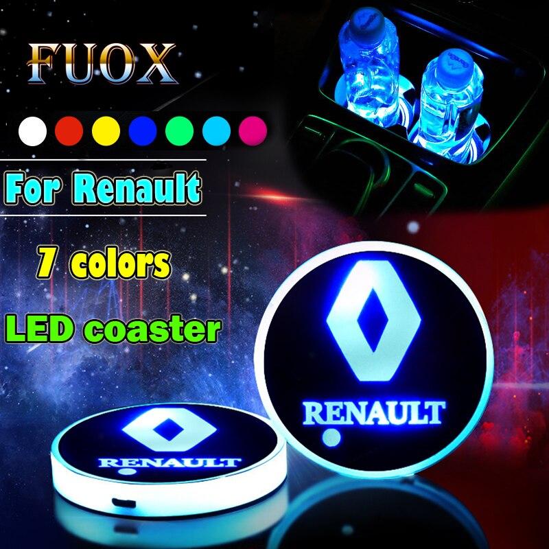 2PCS Car Logo Luminous Light LED Drink Coaster Anti Slip For Renault Megane 2 Duster Logan Clio Laguna 3 Fluence Car Accessories
