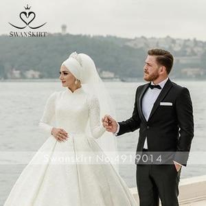 Image 4 - יוקרה מוסלמי אפליקציות חתונת שמלת Swanskirt AZ01 בציר נסיכת כדור שמלה ארוך שרוול סאטן כלה שמלת Vestido דה noiva