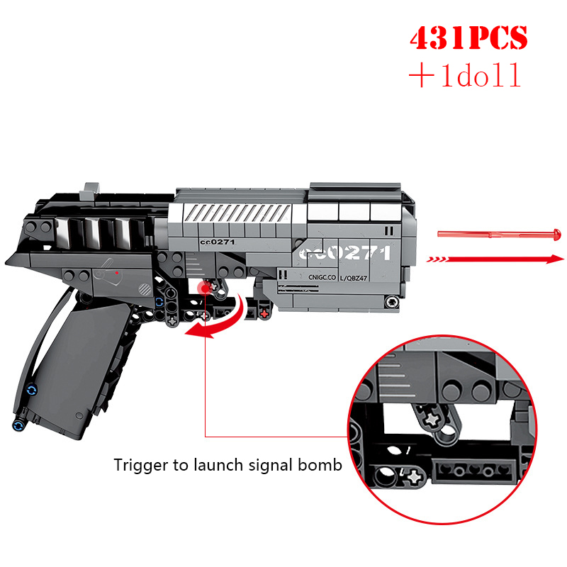 Signal Gun MOC Handgun Pistol Can Fire Bullets Building Blocks Technic City DIY Bricks Educational Toys For Children Boys Gifts image