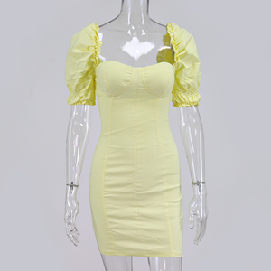 Image 4 - NewAsia Puff Sleeves Bodycon Dress Women 2019 Summer Vintage Push Up Party Dress Yellow Sexy Corset Padded Pencil Dress Mini