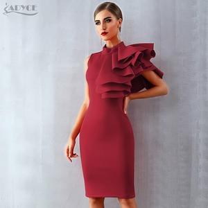 Image 2 - Adyce 2020 yeni yaz kadın kırmızı beyaz ünlü pist parti elbise Vestido seksi kolsuz Ruffles Bodycon Midi gece kulübü elbise