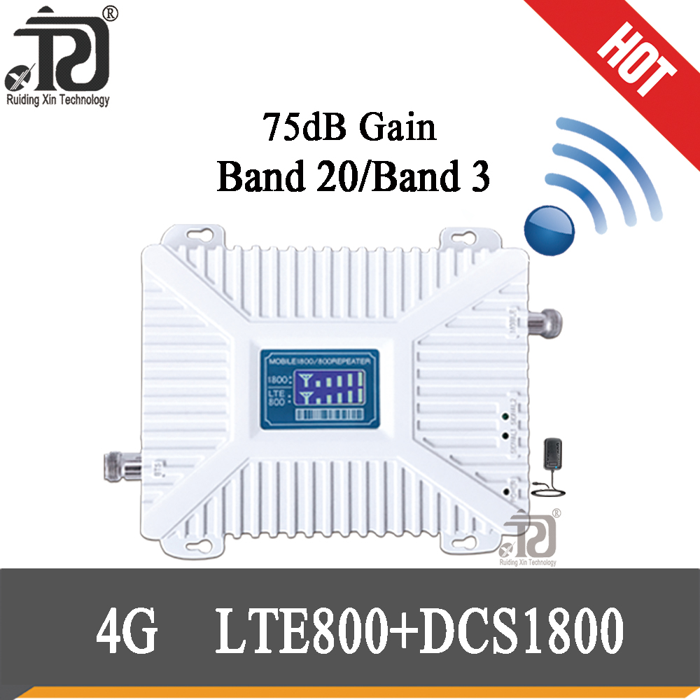 4G Cell Phone Booster 800 1800 Signal Booster  LTE DCS Mobile Signal Repeater Cellular Cell Phone Amplifier 4G Network 75dB Gain