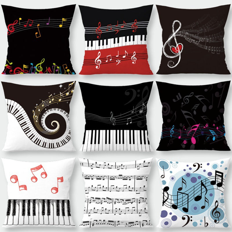 Silstar Tex Musical Note Cushion Cover Home Decorative Pillowcase Covers For Living Room Lounge Coffee House