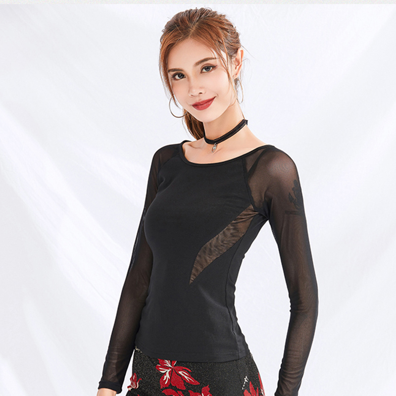 FashionLatin Dance Tops For Women Tango Cha Cha Salsa Ballroom Practice Wear Long Sleeve Samba Rumba Performance Outfit DC2804