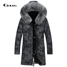 Gours Winter Genuine Leather Jacket Men Real Shearling Sheepskin Long Coat with Natural Fox Fur Collar Wool Lining Warm GSJF1895
