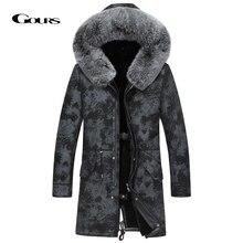 Gours giacca invernale in vera pelle da uomo cappotto lungo in vera pelle di montone con collo in pelliccia di volpe naturale fodera in lana calda GSJF1895