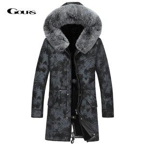 Image 1 - Gours hiver veste en cuir véritable hommes véritable peau de mouton en peau de mouton Long manteau avec col en fourrure de renard naturel doublure en laine chaude GSJF1895