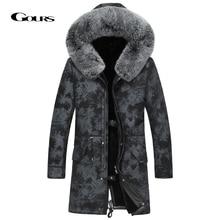Gours zima prawdziwej skóry kurtka mężczyźni prawdziwe Shearling kożuch długi płaszcz z naturalne futro z lisa kołnierz wełniana podszewka ciepłe GSJF1895
