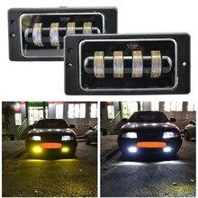 Phare antibrouillard yeux d'ange blanc ambre pour voiture, phare de conduite pour Vaz 2114 van DRL, pour Lada 2110 – 2117, pour Kamaz, pour Niva Chevrolet, 2 pièces