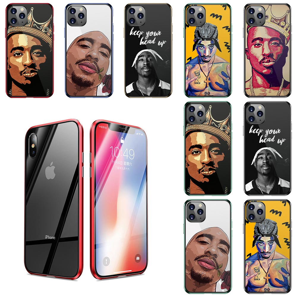 Tempered Glass Phone Cases Cover for iPhone 11 Pro X XS Max XR 6 6S 7 8 Plus 500D Protective glass 2Pac Tupac Shakur Super Deal image