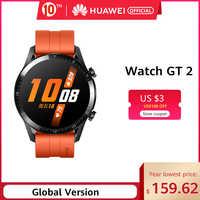 В наличии Оригинальные часы HUAWEI GT 2 GT2 Smart 46 мм gps жизнь водонепроницаемый Bluetooth телефонный звонок сердечный ритм для Android iOS CN Versio