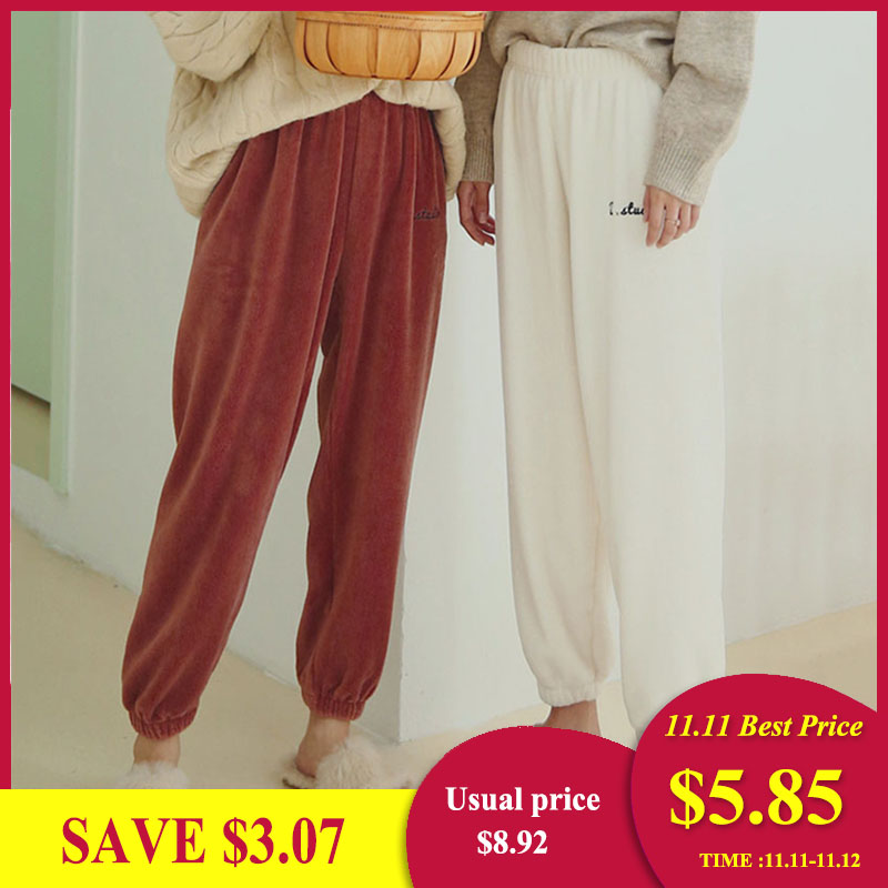 Sanderala Women Flannel Pajama Bloomers Pants 2019 Winter Elastic Loose Trousers Waist Solid Pajamas Bottom Home Sleep Underwear