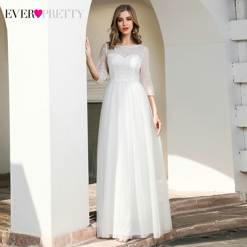 Illusion Lace Wedding Dresses Ever Pretty EP00719CR A-Line 3/4 Sleeve Sequined Tulle Elegant Cream Bride Gowns Vestido De Noiva