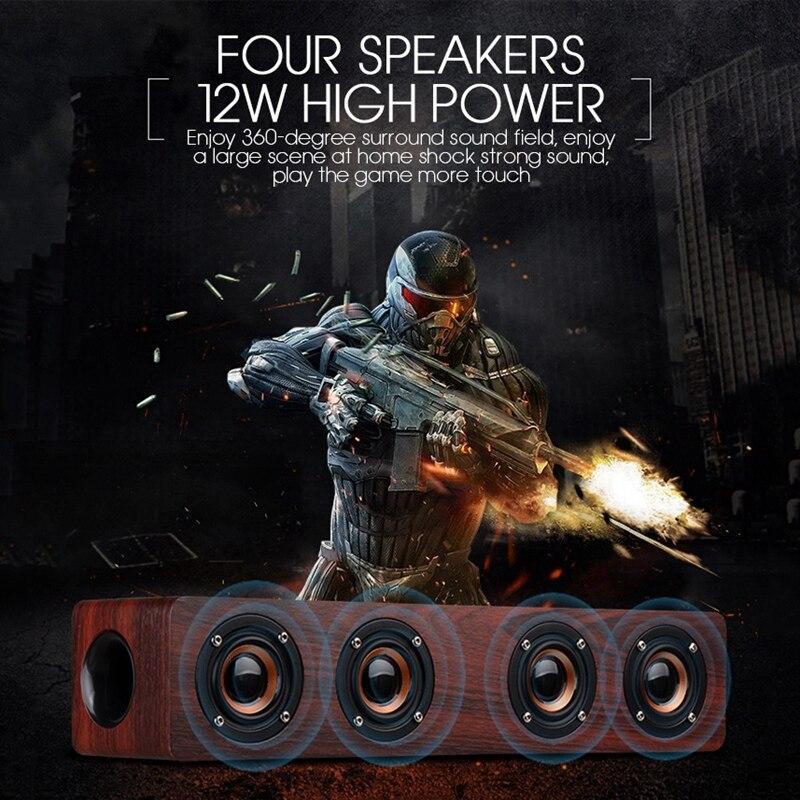 Горячая 3c-12вт Hifi Bluetooth динамик s беспроводной стерео сабвуфер динамик деревянный домашний аудио Настольный динамик Громкая связь Tf звуковая...