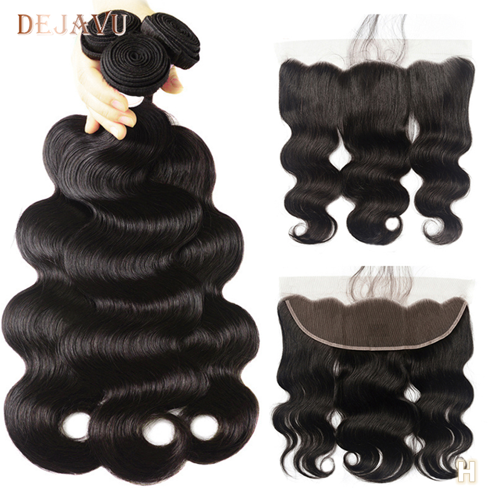 DEJAVU Body Wave Bundles With Closure Non-Remy Peruvian Hair Bundles With 13*4 Lace Closure Human Hair Bundles Hair Extension