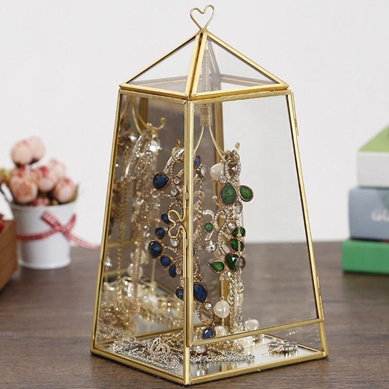Géométrique Transparent verre maison fleur chambre Simple moderne nordique luxe bijoux boîte de rangement décoration de la maison ornements artisanat