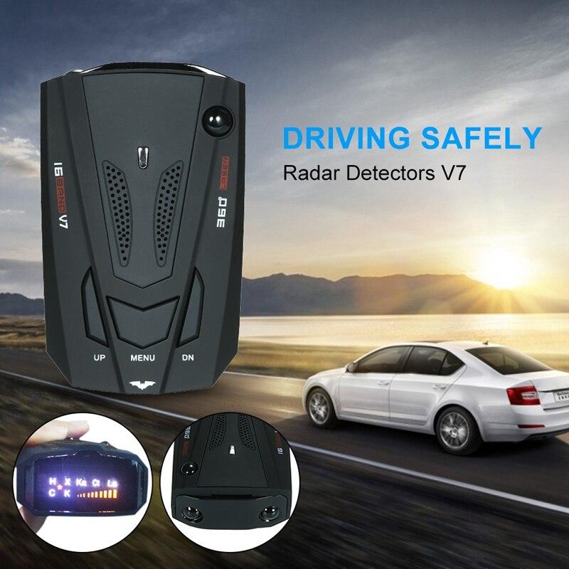 Car Radar Detector English Russian Auto 360 Degree Vehicle V7 Speed Voice Alert Alarm Warning Car Anti Radars Police 16 Band LED
