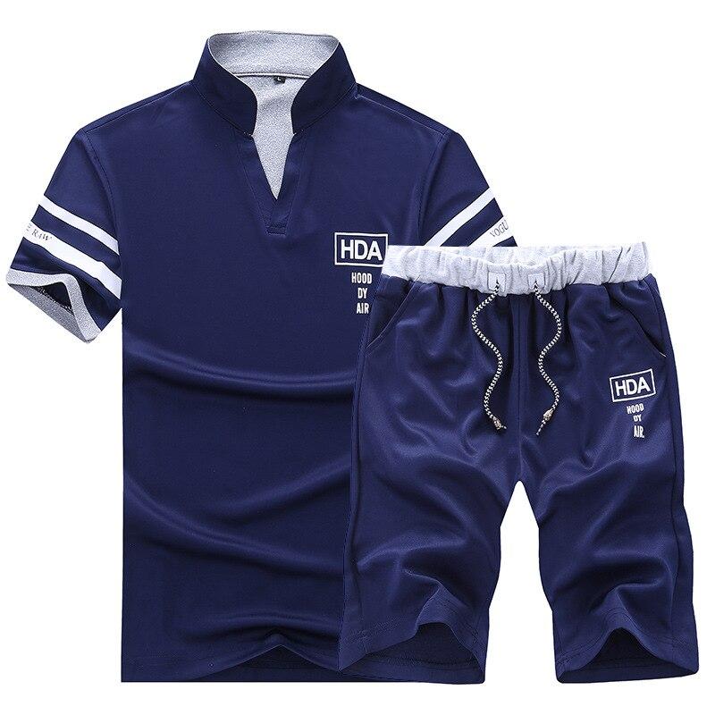 Комплект брендовых спортивных костюмов для мужчин, лето 2019, спортивный костюм из 2 предметов: футболка и шорты со стоячим воротником