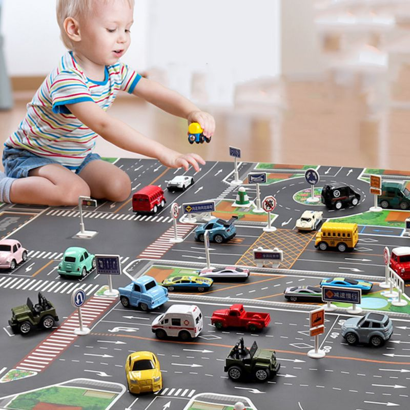 Baby Toy Big City Traffic Car Park Play Mat Waterproof Non-woven Kids Playmat Pull Back Car Toys