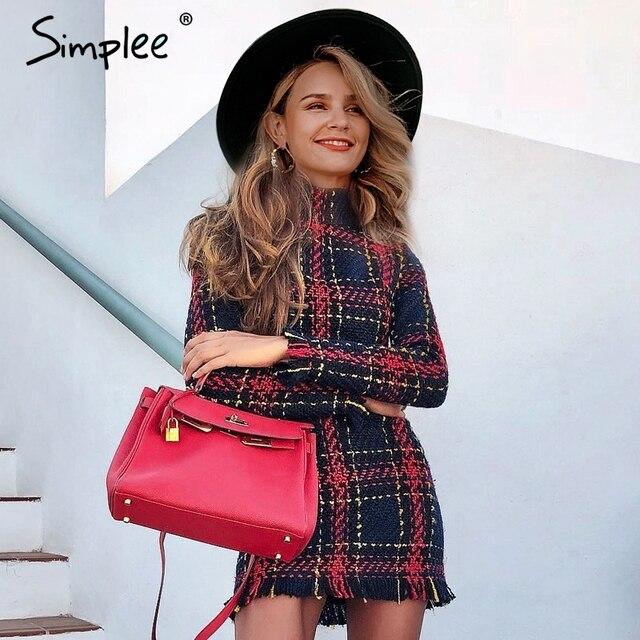 Simplee Elegante plaid tweed frauen büro kleid Winter herbst langarm warme rot kleider Vintage sexy vestidos kleider festa