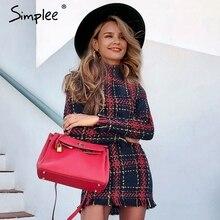 Simplee elegante xadrez tweed vestido de escritório feminino inverno outono manga longa quente vestidos vermelhos do vintage sexy vestidos festa