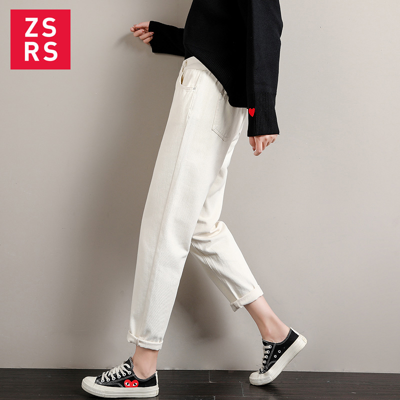 Zsrs White Jean Woman Mom Jeans Pants Boyfriend Jeans For Women With High Waist Push Up Large Size Ladies Jeans Denim 2xl 2019